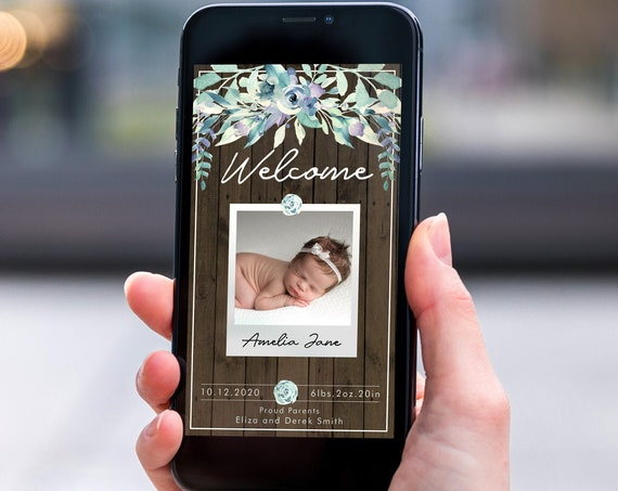 Rustic Green Floral Electronic Photo Baby Announcement, Smartphone SMS Editable template, EcoFriendly, New Baby eCard, Wood Baby Birth Card