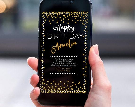 Gold Glitter Spots Electronic Birthday, Smartphone SMS Digital Editable template, EcoFriendly, Electronic Black Gold eCard Birthday Greeting