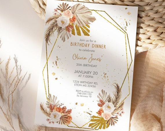 Boho Gold Frame Pampas Grass Birthday Invitation, Palm Leaves Invitation, Printable Dinner Party, Editable Template for Women, Tropical leaf