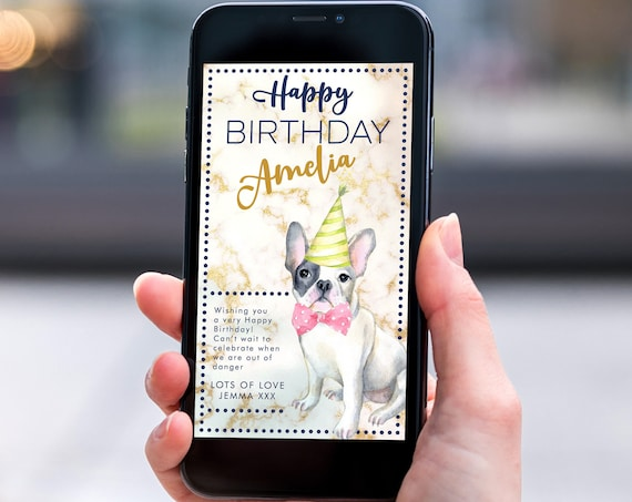 French Bulldog Navy Gold Marble Electronic Birthday, Smartphone SMS Editable template,EcoFriendly, Electronic Puppy eCard Birthday Greeting