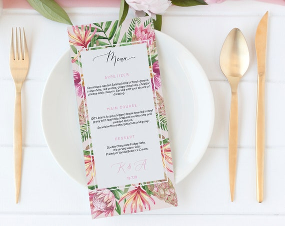 Protea Floral Wedding Menu, Editable Menu, Menu Cards, Printable Menu, King Protea Wedding Menu, Pink Party Menu, Wildflower Menu Download