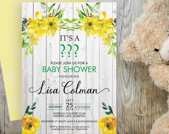 Gender Reveal Baby Shower Invitation, Yellow Floral Shower Invitation, Printable Baby Shower, Editable Template, Watercolor Baby Shower