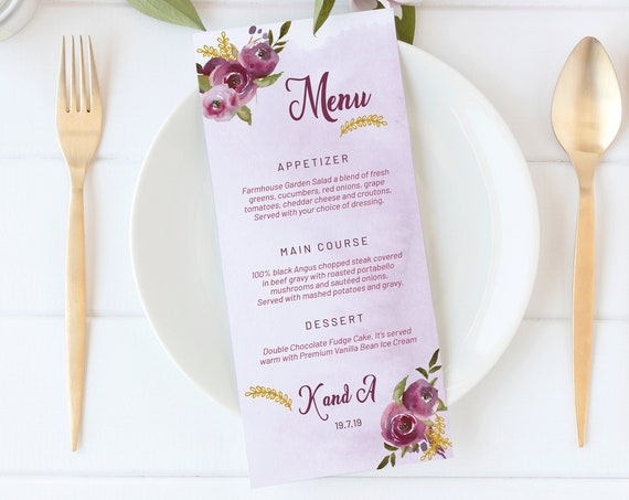 Purple Floral Wedding Menu, Editable Menu, Menu Cards, Printable Menu, Purple Wedding Menu, Party Menu, Menu Download, Wedding Table Decor