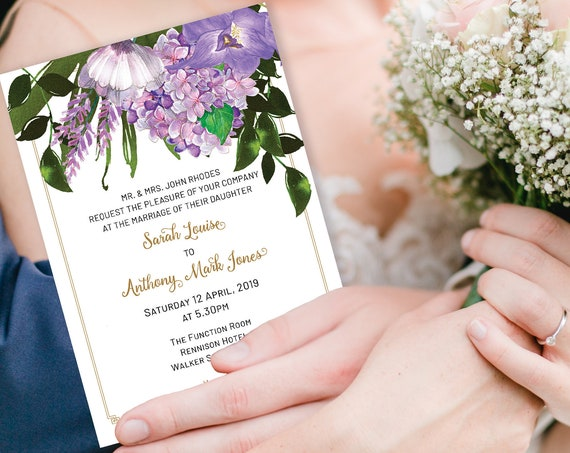 Lavender Floral Wedding Invitation, Purple Invitation, Reception Invitation, Watercolor Flower Invitation, Printable, TRY Before You BUY!