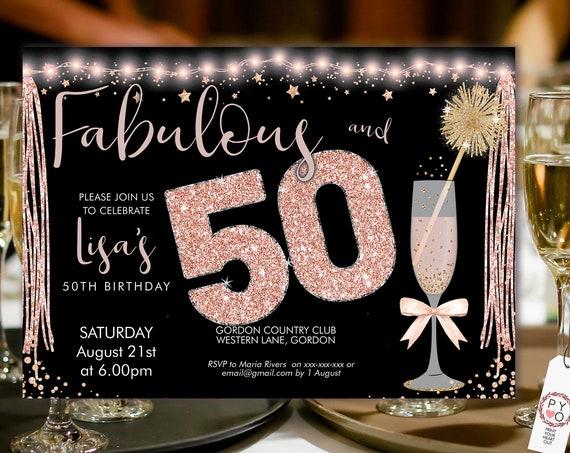 Rosegold Pink Champagne 50 Birthday Invitation Printable Template, Horizontal Birthday Party Invitation Women, Printable gold lights Invite