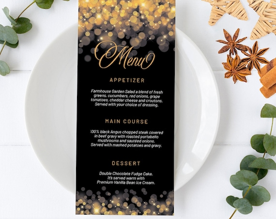 Elegant Gold Lights Party Menu, Gold Glitter Invitation, Sparkling Dinner, Friends Family Party at Home, Shimmering