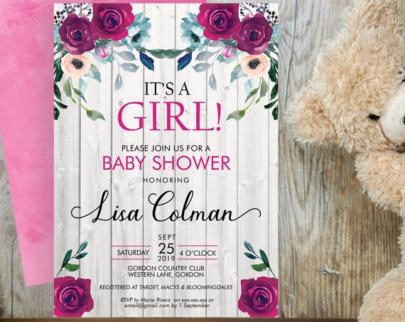Its a Girl Baby Shower Invitation, Pink Floral Shower Invitation, Flower Printable Baby Shower, Editable Template, Watercolor Baby Shower