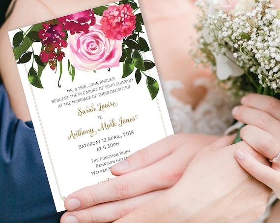 Pink Hydrangea Wedding Invitation, Modern Invitation, Reception Invitation, Watercolor Flower Invitation, Printable Rose, TRY Before You BUY