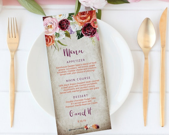 Fall Floral Wedding Menu, Editable Boho Menu, Menu Cards, Printable Menu, Orange Boho Rose Menu, Party Menu, Menu Download, Food Card