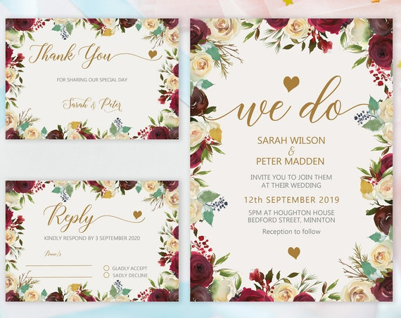 Burgundy Floral Wedding Set, Rose Invitation, Watercolor Fall Invitation, Printable Gold, Editable Template, Floral Wedding RSVP Thank You