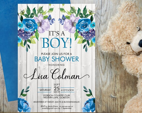 Its a Boy Baby Shower Invitation, Blue Floral Shower Invitation, Purple Printable Baby Shower, Editable Template, Watercolor Baby Shower