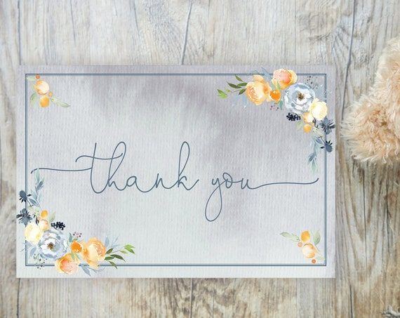 Peach Blue Floral Thank You Card, Baby Thanks, Printable Thank You Card, Baby Shower Thank You Card, Wedding Thank You Card, Bridal Shower