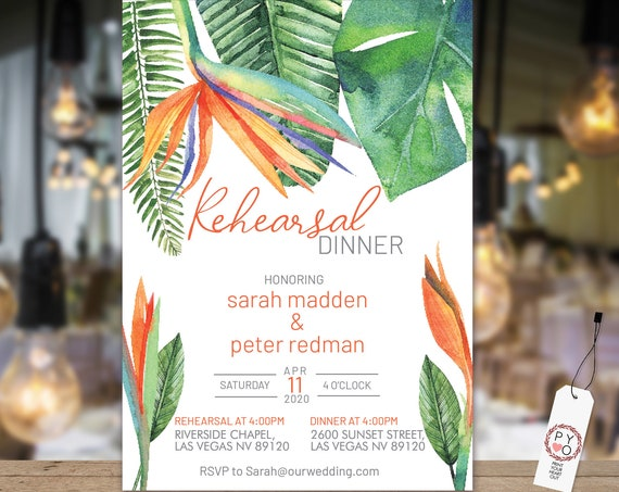 Bird of Paradise Rehearsal Dinner Card, Monstera Greenery, Orange Invitation, DIY Printable Card, Tropical Date Claimer, Practice Wedding