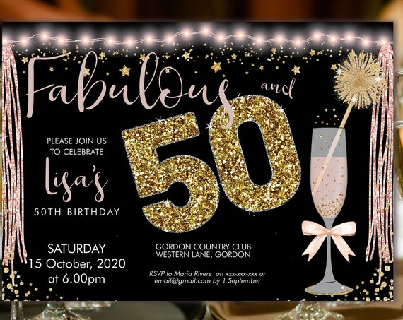 Pink Champagne 50 Birthday Invitation Printable Template, Sparkle Horizontal Birthday Party Invitation Women, Printable gold lights Invite
