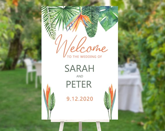 Bird of Paradise Wedding Welcome Sign, Modern Green, Bridal Sign, Outdoor Welcome Sign, Printable Sign, Summer Greenery Foliage Wedding