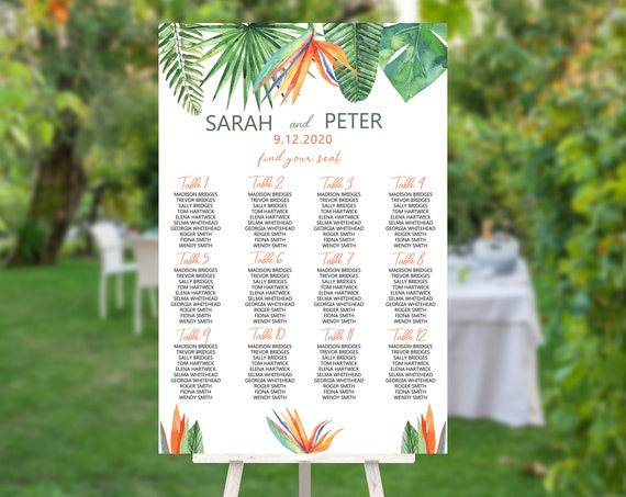 Bird of Paradise Wedding Find Your Seat Sign, Modern Green, Bridal Sign, Outdoor Seating Sign, Printable Sign, Summer Seats Foliage Wedding