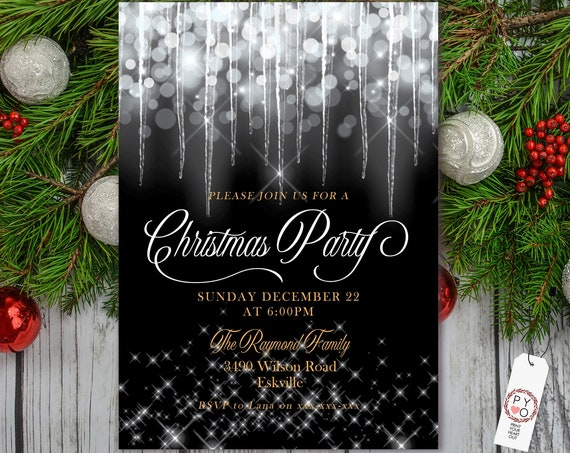 Christmas White Icicles Party Invitation, White Glitter Invitation, Sparkling Invite, Friends Family Xmas Party at Home, Shimmering Bokeh