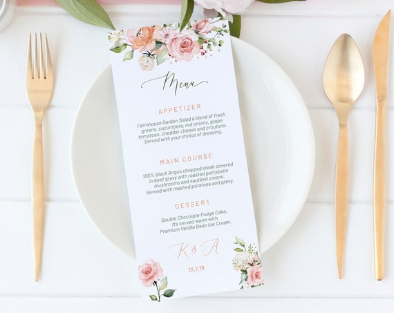 Pink Floral Wedding Menu, DIY Editable Menu, Menu Cards, Printable Menu, Blush Rose Wedding Menu, Party Menu, Menu Download, Flowers Menu