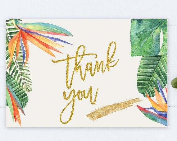 INSTANT DOWNLOAD - Thank You Card , Gold Glitter Bird of Paradise, Summer Spring, Tropical Orange Thank You, Printable Thank You Card