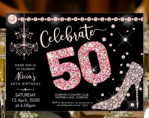 Pink Diamond 50 Birthday Invitation Printable Template, Sparkle Horizontal Birthday Party Invitation Women, Printable pink high heels Invite