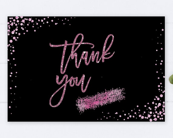 INSTANT DOWNLOAD - Thank You Card, Black Pink Glitter, Wedding Thank You, Printable Thank You Card, Glitter Bridal Shower Thanks, Pink Thank