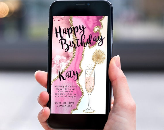 Pink Champagne Marble Electronic Birthday, Smartphone SMS Digital Editable template, EcoFriendly, Electronic Gold Agate Birthday Greeting