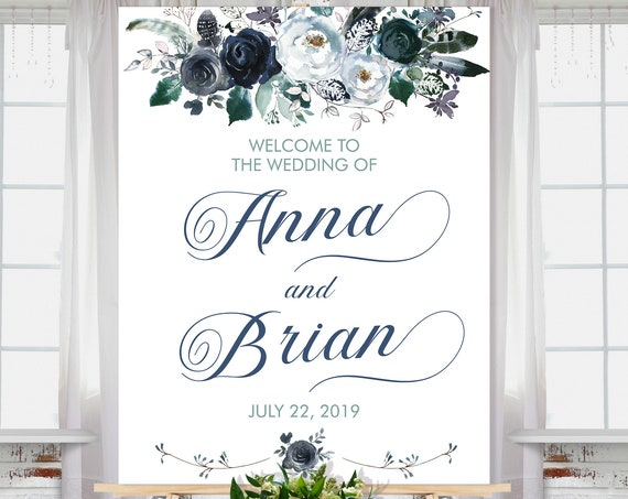 Floral Wedding Sign • White Aqua Grey Navy Blue • Watercolor Flower Feathers • Invite • Welcome Sign • Classic Wedding • Arctic Bloom Series