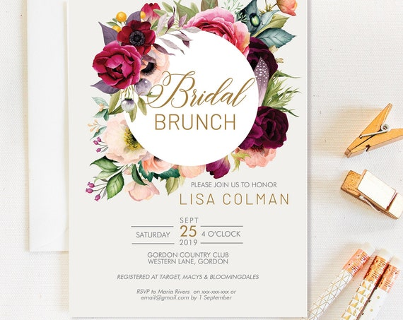 Fall Floral Bridal Shower Invitation, Burgundy Shower Invitation, Printable Bridal Shower, Editable Template, Watercolor Autumn Flowers