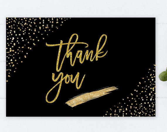 INSTANT DOWNLOAD - Thank You Card, Black Gold Glitter, Wedding Thank You, Printable Thank You Card, Glitter Bridal Shower Thanks, Gold Thank