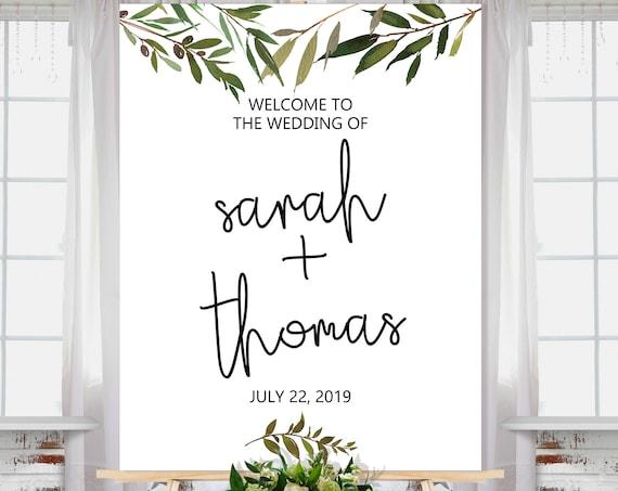 Botanical Wedding Sign • Greenery Welcome Wedding Sign • Leaves Wedding Sign • Eucalyptus Wedding Sign • Printable Sign • Editable Sign
