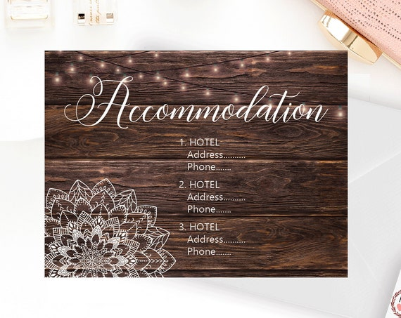 Mandala Accommodation Card, Party Lights Hotel Selections, Woodfence Mailer, Rustic Hotel Card, Boho Wedding, Barn Style Motel Card