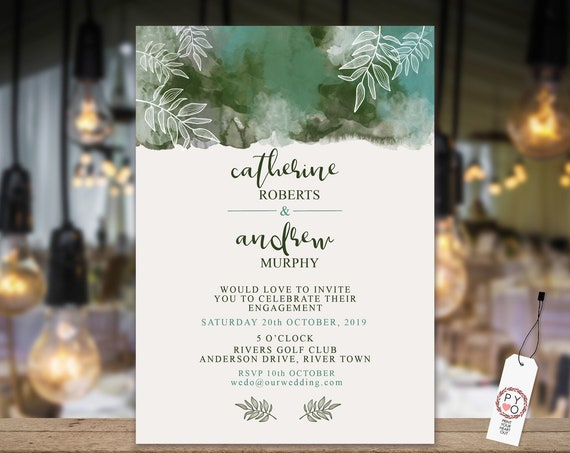 Green Botanical Engagement Invitation, Green Ombre Invitation, Watercolor Foliage, Bottle Green Editable Printable, Engagement Template