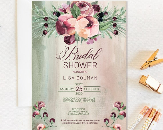 Burgundy Floral Bridal Shower Invitation, Fall Shower Invitation, Printable Bridal Shower, Editable Template, Watercolor Autumn Flowers