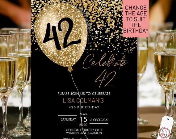 Any Age Gold Birthday Balloon Invitation Printable Template, Black Gold Glitter Editable Birthday Party Invitation, DIY Printable Party