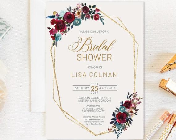 TRY Before You BUY! Burgundy Floral Bridal Shower invitation, Blue invitation,  Geometric invitation, Watercolor Invitation, Gold Printable