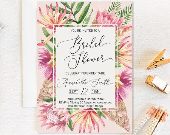 Pink King Protea Floral Bridal Shower invitation, Tropical invitation,  Floral Invitation, Watercolor Pink Invitation, Printable DIY Shower