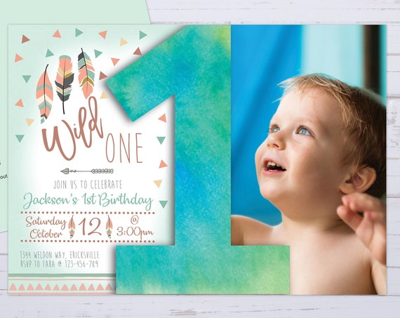 Wild One Boy 1st Birthday Photo Feather Invitation Printable Template, One Editable Birthday Invitation for Boys, Number 1st First Birthday
