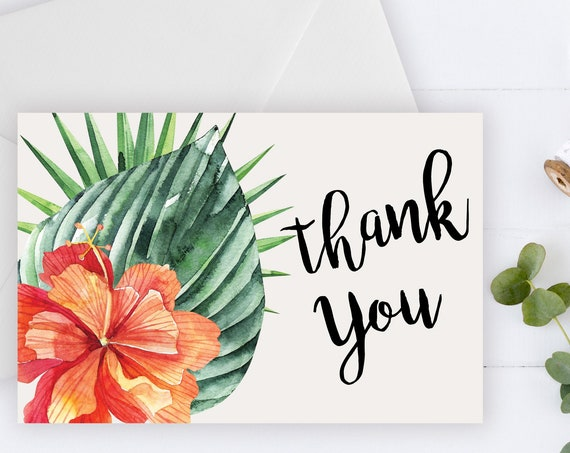INSTANT DOWNLOAD - Thank You Card, Thank you postcard,Thank yous, Diy thank you card, Tropical thank you, Thank you pdf, Thank you notes