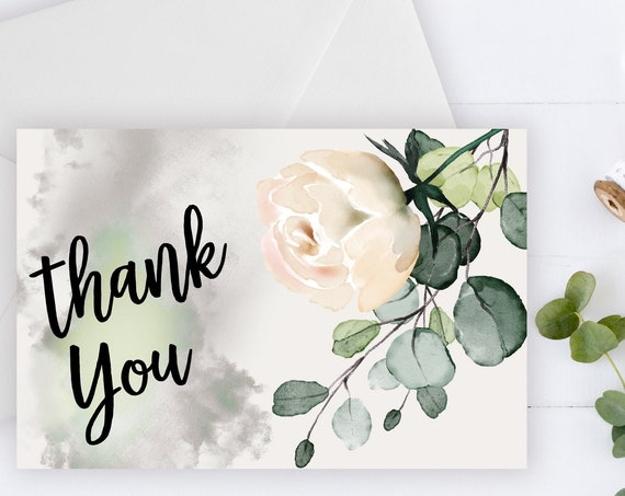 INSTANT DOWNLOAD - Thank You Card • Cream Ivory • Summer Spring • Blush Flower • Rose Flower • Bridal Thank You • Printable Thank You Card
