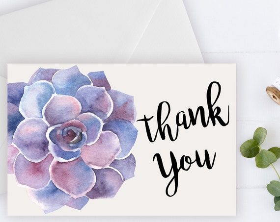 INSTANT DOWNLOAD - Thank You Card, Thank you postcard,Thank yous, Diy thank you card, Succulent thank you, Thank you pdf, Thank you notes