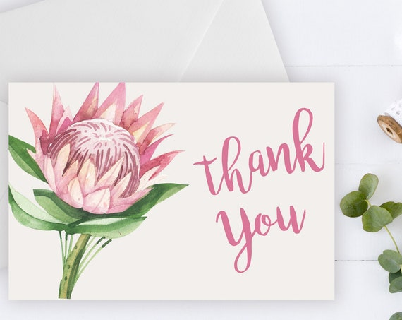 INSTANT DOWNLOAD - Thank You Card, Thank you postcard,Thank yous, Diy thank you card, Protea thank you, Thank you pdf, Thank you notes