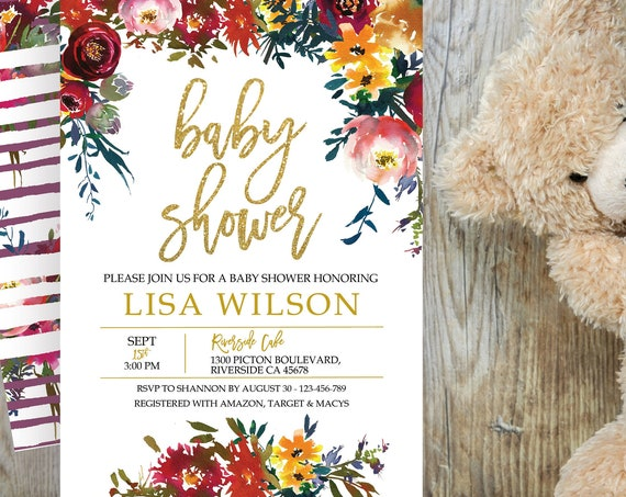 Fall Floral Baby Shower Invitation, Autumn Shower Invitation, Printable Baby Shower, Editable Template, Watercolor Baby Shower, Gold Glitter