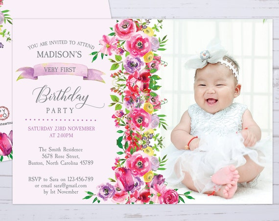 Floral One 1st Birthday Photo Number Invitation Printable Template, One Editable Birthday Invitation for Girls, Kids Baby First Birthday