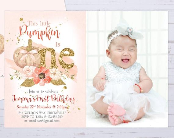 Pumpkin Girl 1st Birthday Photo Invitation Printable Template, One Editable Birthday Invitation for Girls, Gold Glitter First Birthday