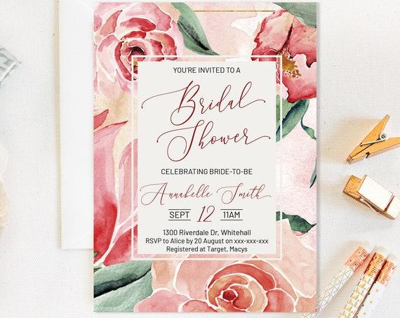 Magnolia Rose Floral Bridal Shower Invitation, Pink Romantic Invitation,  Flowers Invitation, Watercolor Pink Invitation, Pastel Printable