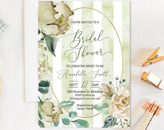 Green Stripe Floral Bridal Shower Invitation, Romantic Invitation,  Flowers Invitation, Watercolor Invitation, Pastel Stripes DIY Printable