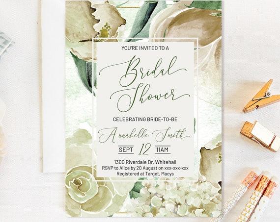 Cream Ivory Magnolia Rose Floral Bridal Shower Invitation, Romantic Invitation,  Flowers Invitation, Watercolor Invitation, Pastel Printable