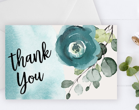 INSTANT DOWNLOAD - Thank You Card, Thank you postcard,Thank yous, Diy thank you card, Floral thank you, Thank you pdf, Thank you notes