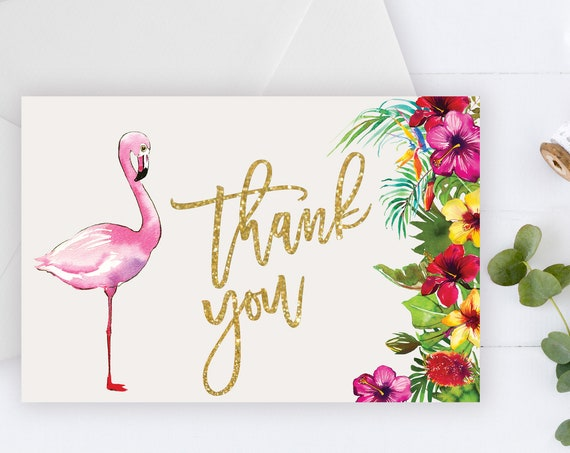 INSTANT DOWNLOAD - Thank You Card , Gold Glitter Pink Flamingo, Summer Spring, Tropical Thank You, Printable Thank You Card, Pink Flamingo,