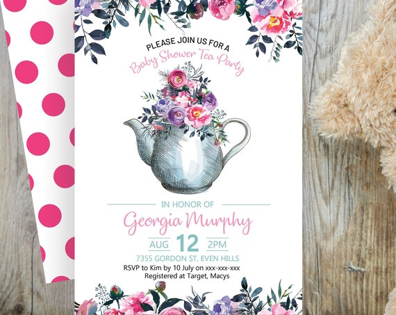 Pink Tea Party Floral Baby Shower Invitation, Baby Girl Shower Invitation, Printable Baby Shower, Editable Template, High Tea Baby Shower